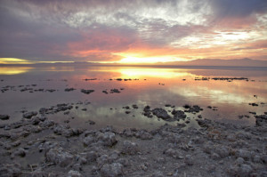 Sunset on Salton Sea